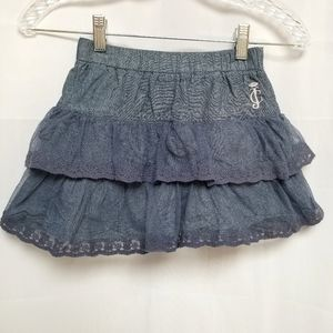 Juicy Couture Blue Tiered Ruffle Skirt